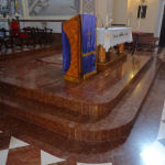 Interior of the Parish Church in Los Corrales with Red Marble